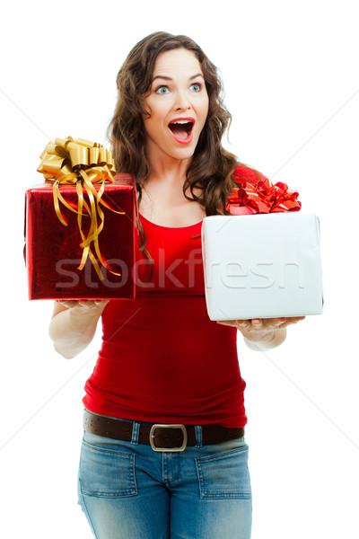 Mooie verwonderd vrouw twee christmas Stockfoto © jaykayl
