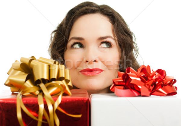 Mooie vrouw presenteert mooie jonge vrouw christmas geschenken Stockfoto © jaykayl