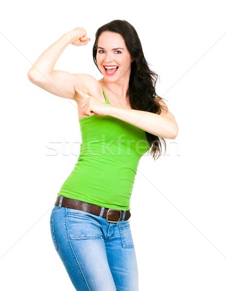Geschikt gelukkig vrouw wijzend spier gezonde Stockfoto © jaykayl