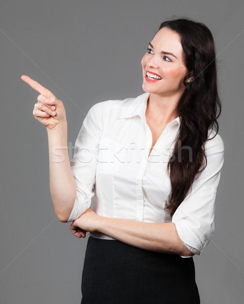 Mulher de negócios indicação cópia espaço feliz belo olhando Foto stock © jaykayl