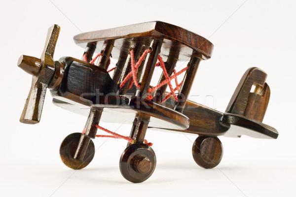 Retro giocattolo di legno velivolo isolato piano Foto d'archivio © jaykayl