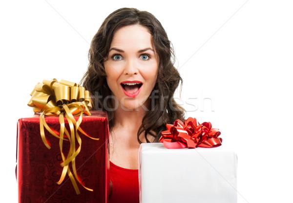 Verwonderd vrouw christmas presenteert mooie Stockfoto © jaykayl