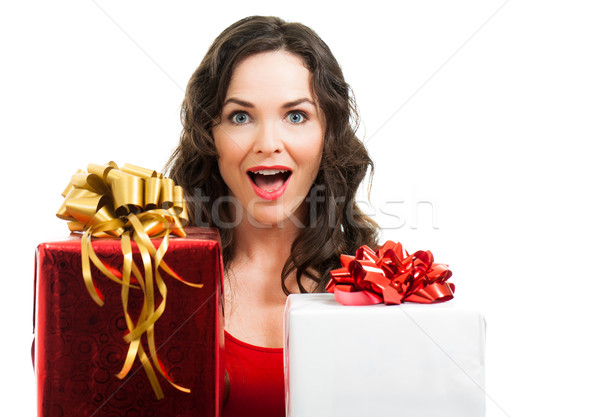 Sorpreso donna Natale presenta bella Foto d'archivio © jaykayl