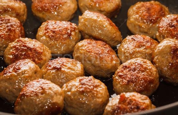 Primo piano polpette padella alimentare piatto Foto d'archivio © jaykayl