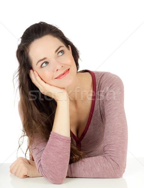 Portret glimlachend jonge vrouw mooie geïsoleerd Stockfoto © jaykayl