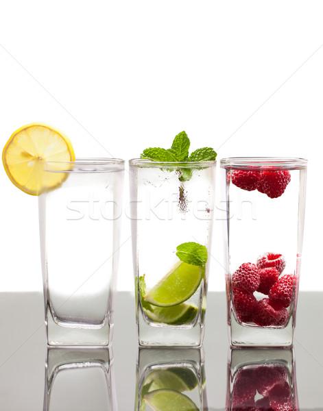 Trzy kolorowy napojów różny jagody owoców Zdjęcia stock © jaykayl