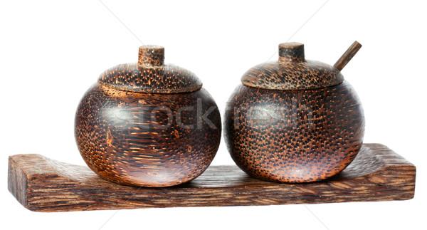 Houten zout peper kommen lepel paar Stockfoto © jaykayl