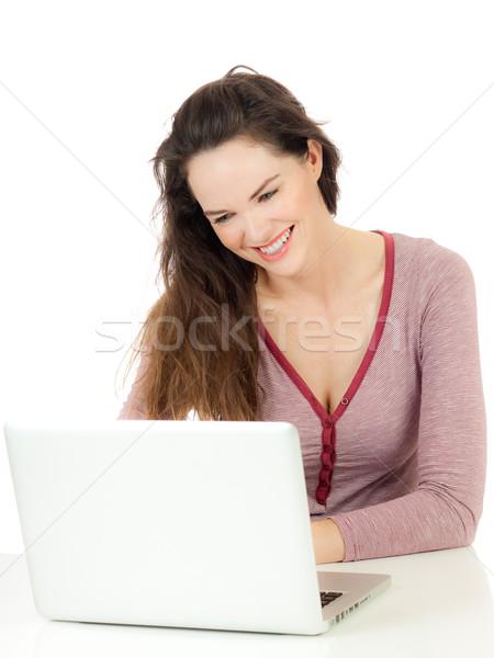 幸せ 若い女性 ラップトップを使用して 肖像 美しい 小さな ストックフォト © jaykayl
