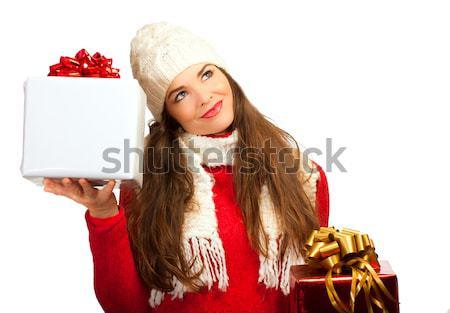 Mooie jonge verwonderd vrouw geschenk Stockfoto © jaykayl