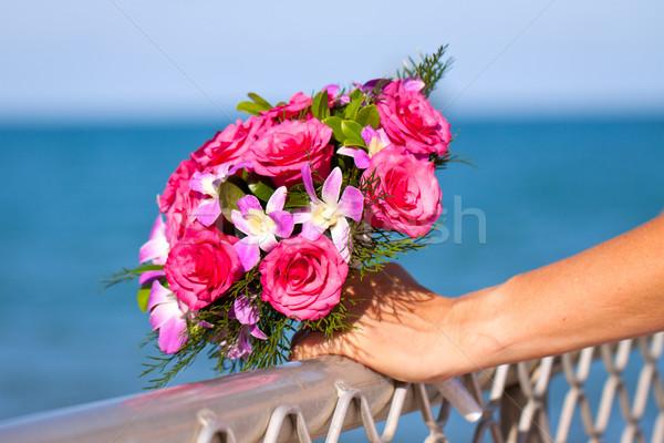 Beautiful wedding bouquet held by bride Stock photo © jaykayl