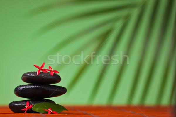Spa masażu martwa natura równoważenie kamienie czarny Zdjęcia stock © jaykayl
