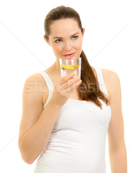 Bella donna acqua isolato ritratto giovani Foto d'archivio © jaykayl