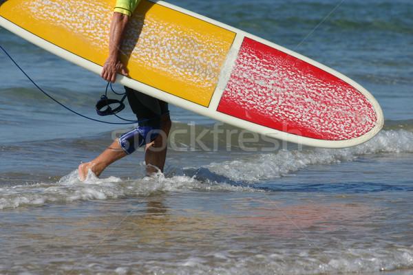 Afgewerkt surfen surfer water icon Stockfoto © jeayesy