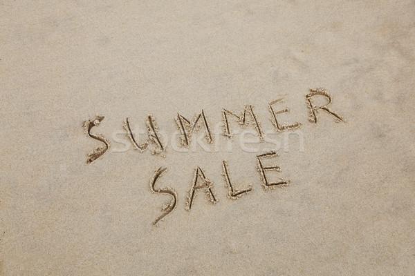 夏 販売 書かれた 砂 ビーチ 販売 ストックフォト © jeayesy