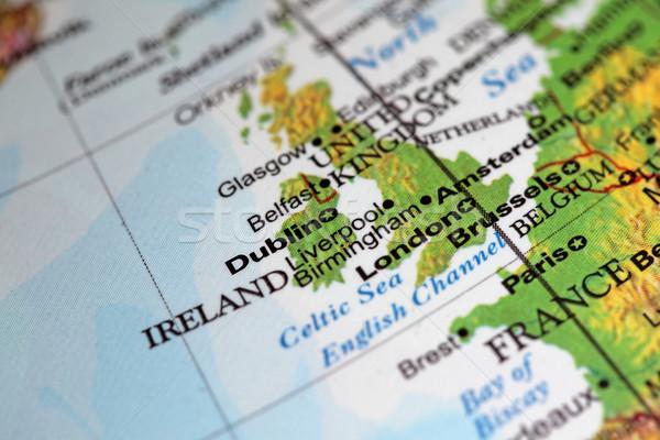 Dublin Írország közelkép világ földgömb jegyzet Stock fotó © jeayesy