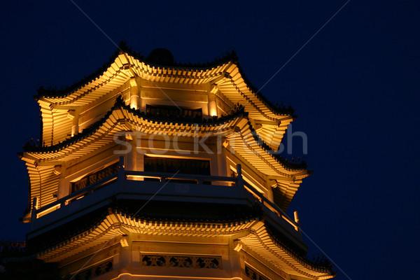 Kínai pagoda megvilágított éjszaka Peking Kína Stock fotó © jeayesy