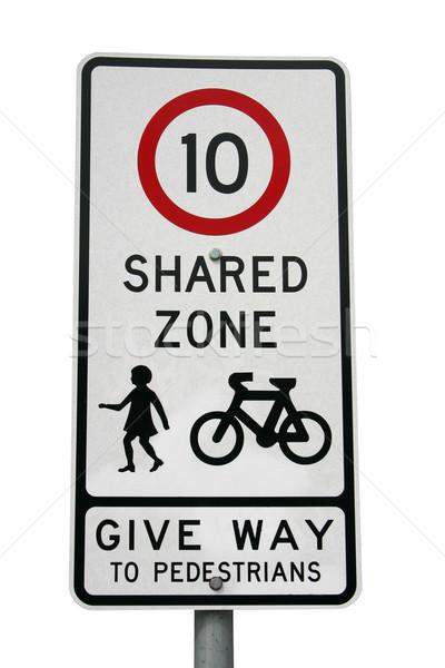 Shared zone sign isolated on white Stock photo © jeayesy