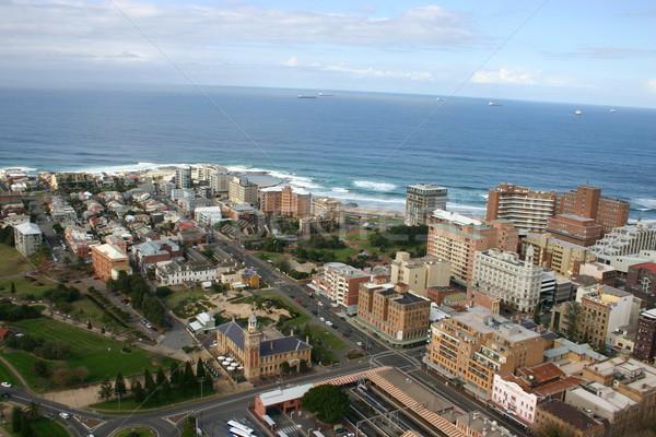 Légifelvétel Newcastle Ausztrália épület város városi Stock fotó © jeayesy