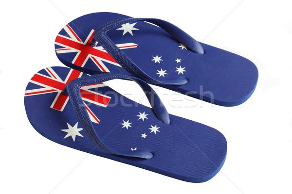 Australiano bandera icono aislado blanco Foto stock © jeayesy