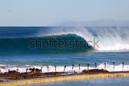 Large Wave at Newcastle Baths - Australia Stock photo © jeayesy