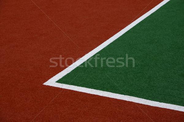 Hockey campo esquina verde blanco línea Foto stock © jeayesy