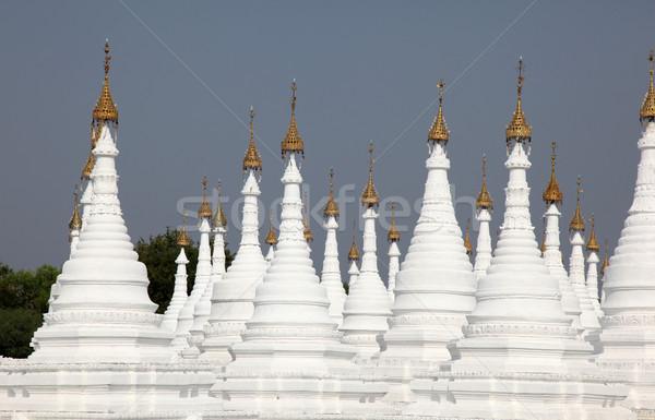 Mandalay - Myanmar - White Pagodas Stock photo © jeayesy