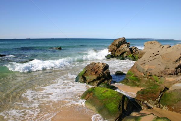 Tengerpart Newcastle Ausztrália kicsi hullámok csattanás Stock fotó © jeayesy