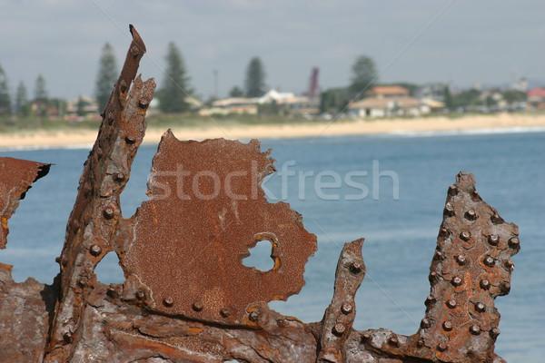 Enferrujado metal navio destruir ferrugem Foto stock © jeayesy