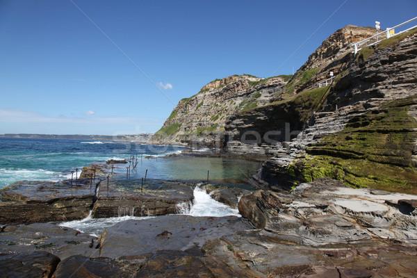 Lyuk Newcastle Ausztrália óceán fürdőkád elítélt Stock fotó © jeayesy