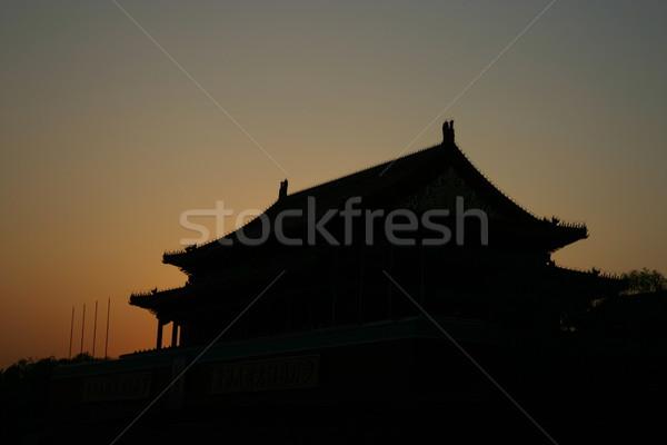 Sunset at the Forbidden City Beijing Stock photo © jeayesy