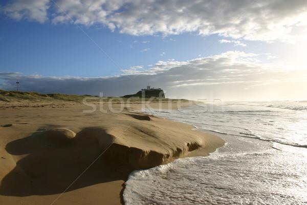 Tengerpart Newcastle Ausztrália hullám tekercsek felfelé Stock fotó © jeayesy