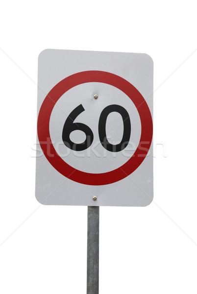 знак 60 км скорости изолированный белый Сток-фото © jeayesy