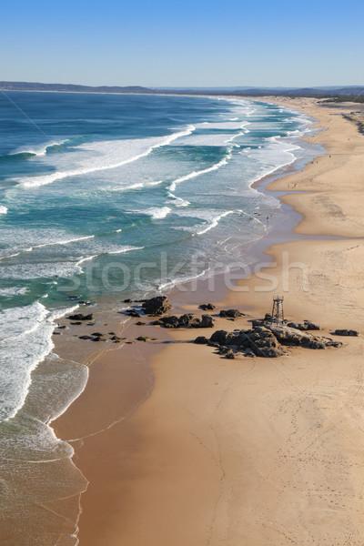 Vörös hajú nő tengerpart Newcastle légifelvétel dél pár Stock fotó © jeayesy