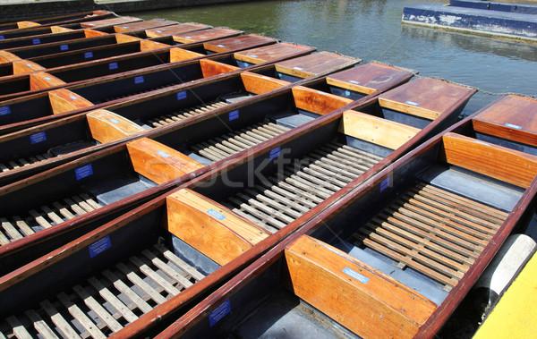 Stockfoto: Cambridge · Engeland · groep · houten · samen · rivier