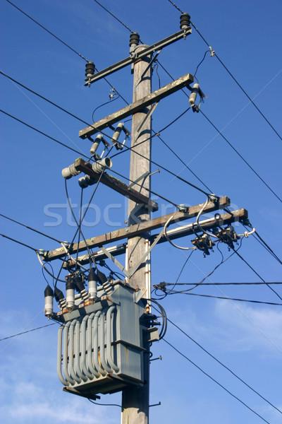 Transformatör kutup dağıtım güç hat enerji Stok fotoğraf © jeayesy