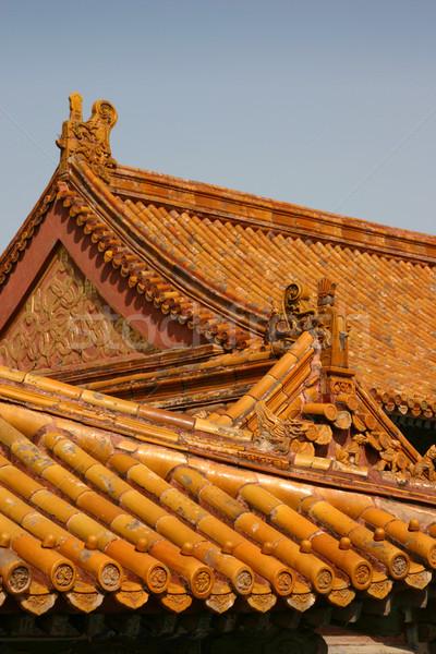 Tiltott város Peking díszes kínai tető Ázsia Stock fotó © jeayesy