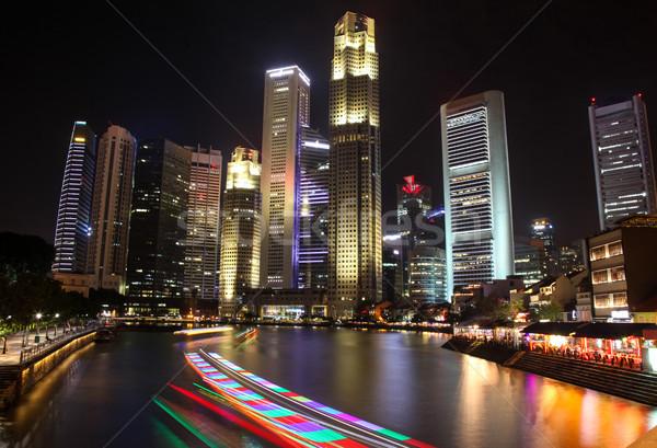 Singapore Nightime from South Bridge Road Stock photo © jeayesy