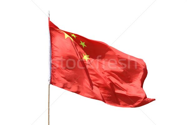 中国語 フラグ 孤立した 白 赤 ストックフォト © jeayesy