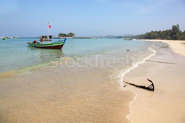 пляж Мьянма местный рыбалки лодках Сток-фото © jeayesy