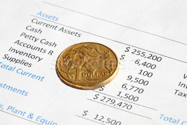 Vermögenswerte Dollar Münze Asset Blatt Stock foto © jeayesy