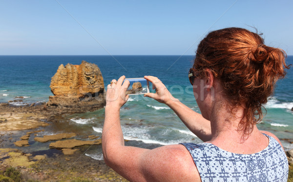 Great Ocean Road Tourist Taking Phone Photo Stock photo © jeayesy