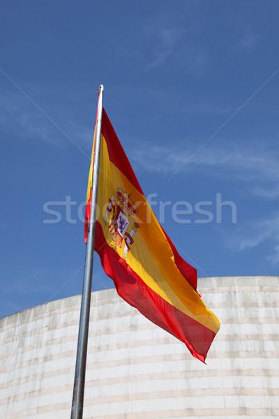 スペイン国旗 垂直 建物 青空 青 赤 ストックフォト © jeayesy