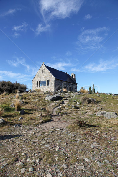ニュージーランド 教会 湖 石 新しい ストックフォト © jeayesy