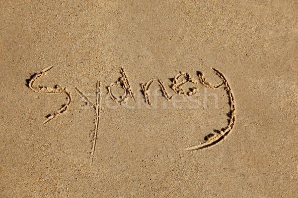 Sydney ciudad escrito arena playa Foto stock © jeayesy