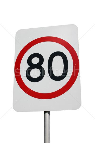 Acelerar assinar isolado branco 80 km Foto stock © jeayesy