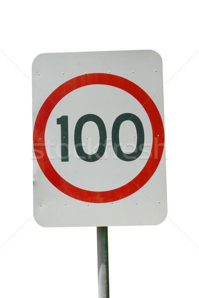 Hızlandırmak imzalamak 100 km yalıtılmış beyaz Stok fotoğraf © jeayesy