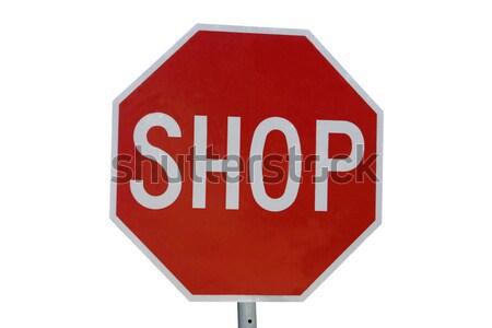 Stopteken geïsoleerd witte Stockfoto © jeayesy