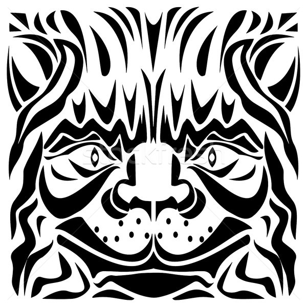 Ornamental Cat's Head Vector Illustration Stock photo © jeff_hobrath
