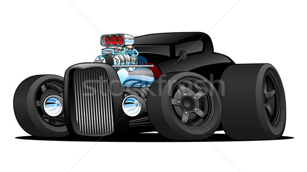 Hot rod vintage coupe auto cartoon Foto d'archivio © jeff_hobrath