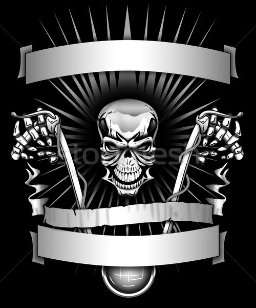 Biker skeleton riding motorcycle with banners graphic Stock photo © jeff_hobrath